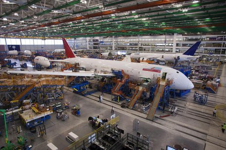 A 787 Dreamliner being built for India Air is pictured at South Carolina Boeing final assembly building in North Charleston, South Carolina