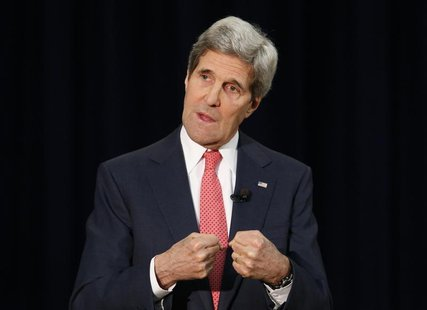 U.S. Secretary of State John Kerry speaks about Ukraine during a town hall at the State Department in Washington March 18, 2014. REUTERS/Yur