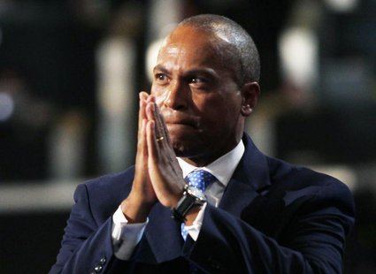 Massachusetts Governor Deval Patrick gestures while addressing the first session of the Democratic National Convention in Charlotte, North C
