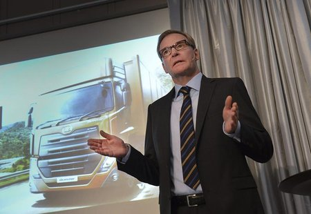 Volvo Chief Executive Olof Persson gestures during a news conference in Stockholm October 25, 2013. Volvo AB truck maker presented the resul