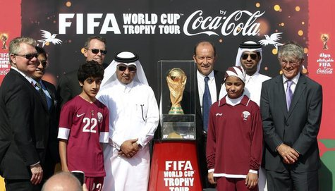 Qatar Football Association general secretary Saoud Al-Mohannadi (5th L), FIFA representative Gabriel Calderon of Argentina (4th R) and socce