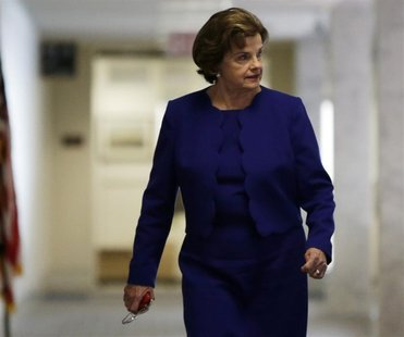 Senator Dianne Feinstein (D-CA), head of the Senate Intelligence Committee, walks into a closed hearing in Washington March 11, 2014. REUTER