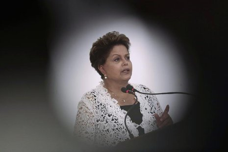 Brazil's President Dilma Rousseff speaks during a ceremony to sign concession contracts for duplication of highways in several Brazilian sta