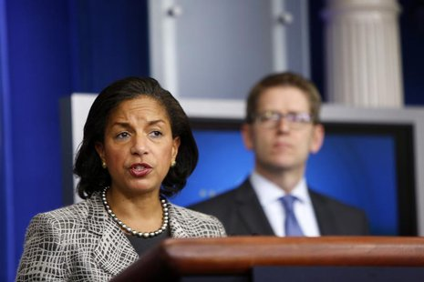White House national security adviser Susan Rice and spokesman Jay Carney (R) address reporters in the press briefing room at the White Hous