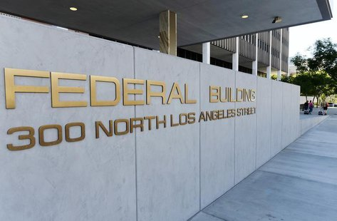 A view shows the sign for the Federal Building, where the Internal Revenue Service (IRS) offices are located, in Los Angeles, California Oct