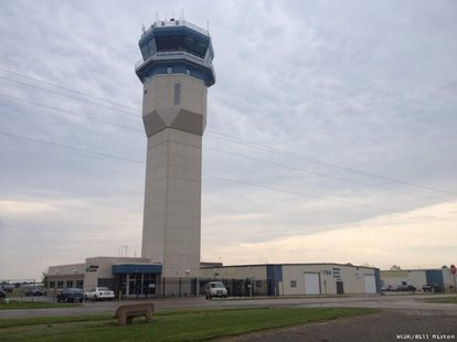 The air traffic control tower at Wittman Regional Airport in Oshkosh, June 4, 2013. (Photo from: FOX 11).