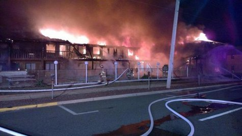 Firefighters battle flames in the early morning at a Jersey Shore motel in this March 21, 2014 handout photo. CREDIT: REUTERS/OFFICE OF THE OCEAN COUNTY PROSECUTOR/HANDOUT VIA REUTERS