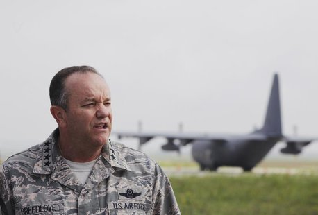 NATO's top military chief, General Philip Breedlove, speaks about the conflict in Syria during a news conference at Pristina Military Airpor