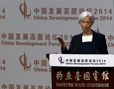 International Monetary Fund (IMF) Managing Director Christine Lagarde makes a speech during the China Development Forum in Beijing March 23,