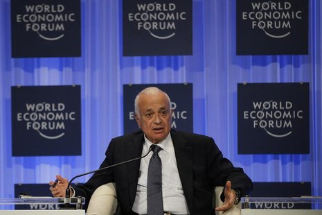 "Arab League Secretary General Nabil Elaraby speaks during the ""Foreign Policy Outlook"" session at the World Economic Forum on the Middle Eas"