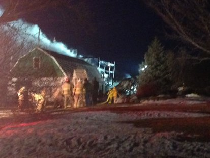 Firefighters respond to barn fire on Morrison Road in the Town of Wayside on March 23, 2014. (Photo from: FOX 11).