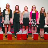 Seniors honored at the Coldwater High School gymnastics team awards banquet on March 23, 2014