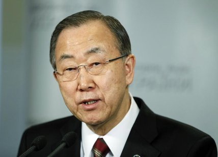 United Nations Secretary General Ban Ki-moon addresses journalists in Kiev March 21, 2014. REUTERS/Gleb Garanich