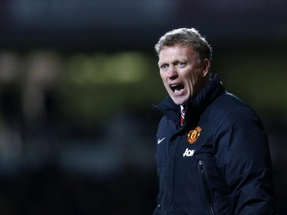 Manchester United manager David Moyes reacts during their English Premier League soccer match against West Ham United at the Boleyn Ground i