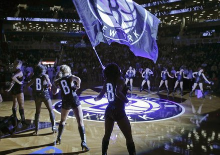 The Brooklynettes perform during introductions before the Brooklyn Nets play the Utah Jazz in their NBA basketball game in New York, Decembe