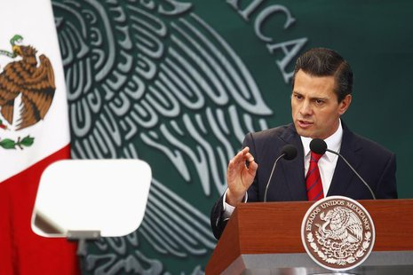 Mexico's President Enrique Pena Nieto speaks during the promulgation of the electoral political reform in Mexico City, January 31, 2014. REU