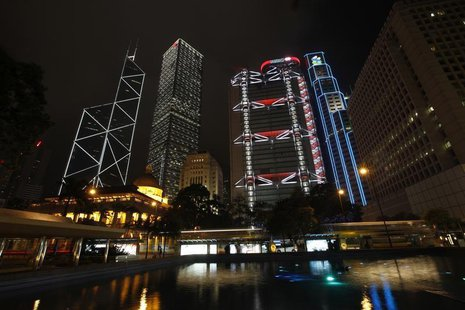 Hong Kong's central financial district's (L-R) Bank of China Tower, Cheung Kong Centre, HSBC headquarters, Standard Chartered Bank and Legis