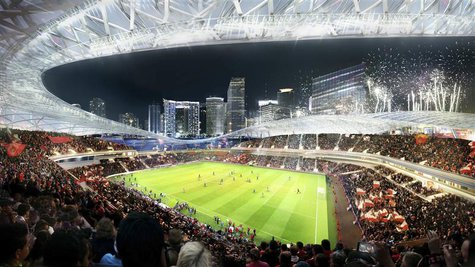 This image courtesy of Miami Beckham United shows an artist rendering of a proposed stadium for a Major League Soccer (MLS) team backed by r