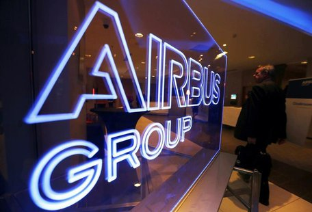 The logo of Airbus Group is seen at the entrance of a news conference to announce the Airbus Group 2013 annual results in Toulouse February