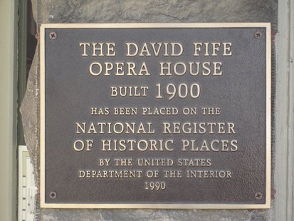 Fife Opera House National Register of Historic Places Plaque