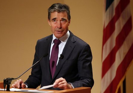 NATO Secretary General Anders Fogh Rasmussen speaks after receiving the Hillary Rodham Clinton Award for Advancing Women in Peace and Securi