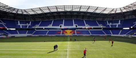 Members of the Major League Soccer (MLS) club New York Red Bulls practice in the Red Bulls Arena during a team workout in Harrison, New Jers