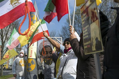 People protest against executions and human rights violations in Iran on a square near the Nuclear Security Summit in The Hague March 25, 20