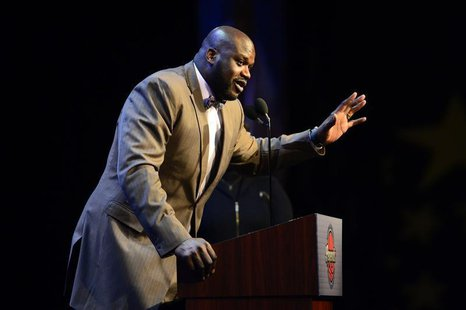 Feb 16, 2014; New Orleans, LA, USA; NBA legend Shaquille O'Neal speaks as he honored as the Legend of the Year during the 2014 NBA All-Star