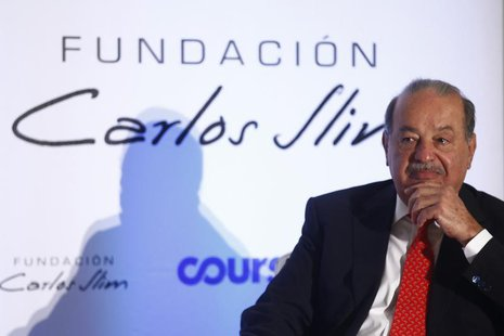 Mexican billionaire Carlos Slim attends a presentation of a digital platform, which was created in partnership with the Carlos Slim Foundati