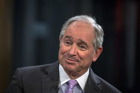 Stephen A. Schwarzman, Chairman and Chief Executive Officer of The Blackstone Group, looks on during an interview with Maria Bartiromo, on h