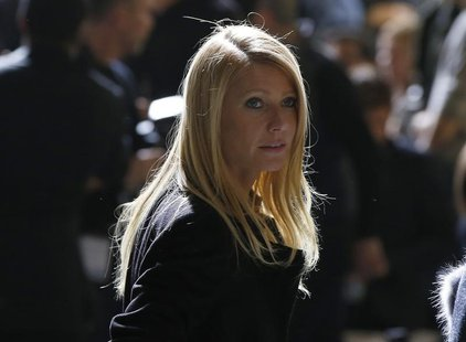 Actress Gwyneth Paltrow arrives at the Hugo Boss Fall 2014 collection during New York Fashion Week February 12, 2014. REUTERS/Shannon Staple