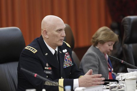 U.S. Army Chief of Staff General Ray Odierno (L) speaks during a meeting with Fang Fenghui (not pictured), Chief of General Staff of the Peo
