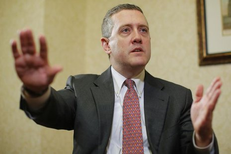 James Bullard, President of the St. Louis Federal Reserve Bank, speaks during an interview with Reuters in Boston, Massachusetts August 2, 2