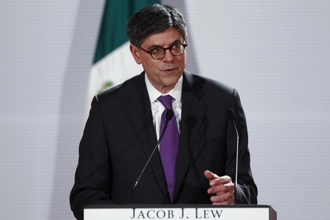 U.S. Treasury Secretary Jack Lew speaks during a news conference with Mexico's Finance Minister Luis Videgaray (not pictured) in Mexico City