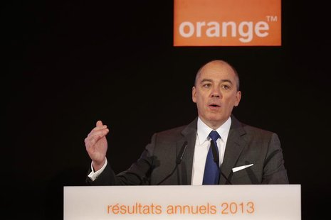French telecom operator Orange Chief Executive Stephane Richard attends the company's 2013 annual results presentation in Paris March 6, 201