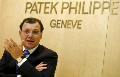 Patek Philippe Chairman Thierry Stern gestures as he speaks during a Reuters interview at Baselworld fair in Basel March 26, 2014. REUTERS/A