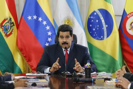 Venezuela's President Nicolas Maduro speaks to the Union of South American Nations' (UNASUR) foreign ministers at Miraflores palace in Carac