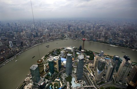 A general view of Shanghai's financial district of Pudong is seen from the top of the Shanghai Tower, which is undergoing construction, in t