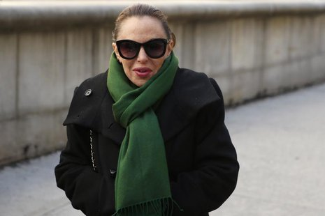 Nikki Haskell exits the Manhattan Federal Court in New York, March 26, 2014. REUTERS/Eduardo Munoz