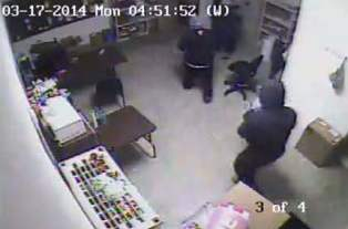 Security camera shot of Verizon Store break-in, Coldwater MI, March 17, 2014 (photo courtesy of Coldwater Police Department)
