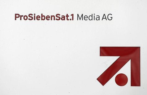 The logo of Germany's biggest commercial broadcaster ProSiebenSat.1 Media AG is pictured in front of the headquarters in Unterfoehring, near