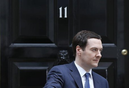 Britain's Chancellor of the Exchequer, George Osborne, leaves number 11 Downing Street, before delivering his budget to the House of Commons
