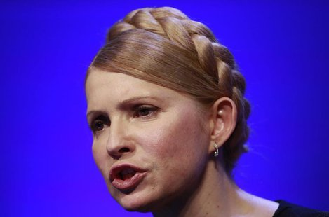 Ukraine's opposition politician Yulia Tymoshenko speaks to the media at the European People's Party (EPP) Elections Congress in Dublin March