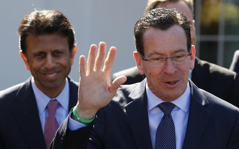 Connecticut Governor Dannel Malloy (R) offers a rebuttal regarding remarks made by Louisiana Governor Bobby Jindal following a National Gove