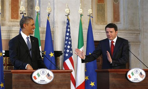 U.S. President Barack Obama and Italian Prime Minister Matteo Renzi hold a news conference following their meeting at Villa Madama in Rome M