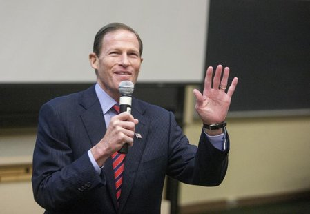 U.S. Senator Richard Blumenthal addresses the Marching On conference on gun violence prevention in Middletown, Connecticut September 28, 201