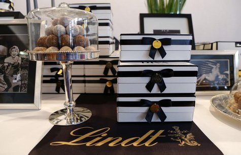 Packages of Diva chocolate truffles of Swiss chocolatier Lindt & Spruengli are displayed during the company's annual news conference in Kilc