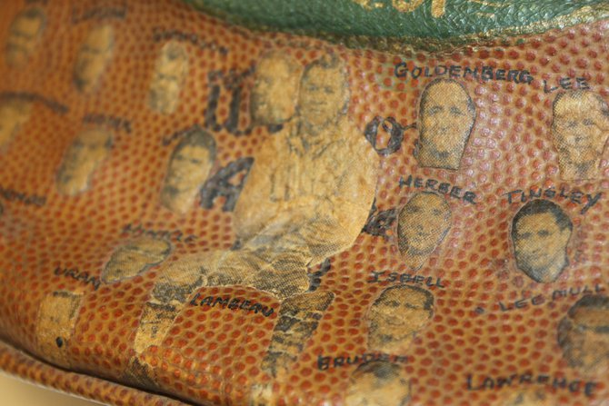 """The game ball from the 1939 championship game went through a little """"bedazzling"""""""