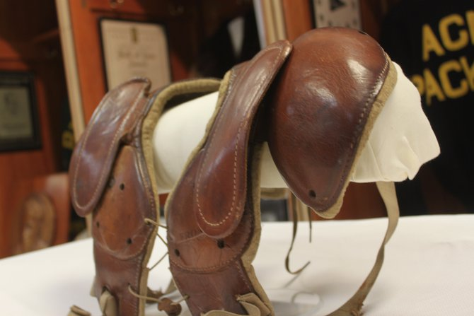 "Johnny ""Blood"" McNally's shoulder pads from the 1930's"