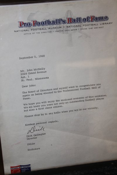 "a letter from the Pro Football Hall of Fame to Johnny ""Blood"" McNally"